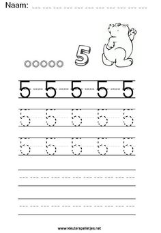 Cijfer 5 leren schrijven, werkblad printen. Alphabet Worksheets, Kindergarten Worksheets, Preschool Writing, Writing Numbers, Math For Kids, Homeschool, Teacher, Lettering, Learning