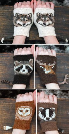 Knitting Pattern for Woodland Animals Mitts - Fingerless mitts featuring intarsi. Knitting Pattern for Woodland Animals Mitts - Fingerless mitts featuring intarsia animals with tails. Owl Knitting Pattern, Intarsia Knitting, Animal Knitting Patterns, Mittens Pattern, Knitting Charts, Loom Knitting, Knitting Socks, Knitting Stitches, Knit Mittens