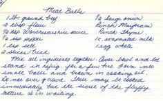 Handwritten Recipe Card For Meatballs