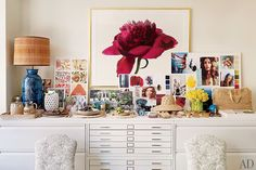 Aerin Lauder office white file drawers inspiration boards AD