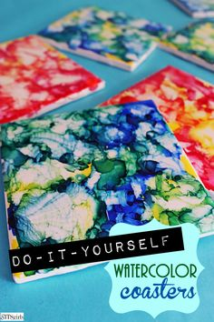 DIY alcohol watercolor tile coasters. These are super cute for giving as a gift. They could also be collected together to create a wall hanging or other decorations. You have a lot of fun options with these alcohol ink coasters.