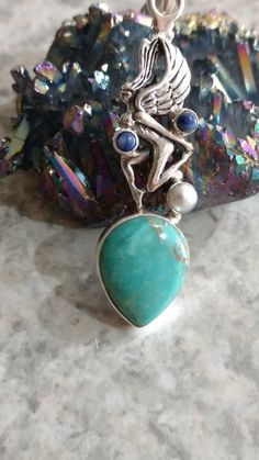 Fairy - Sleeping Beauty Turquoise, Pearl & Lapis Pendant Necklace by KarinsForgottenTreas on Etsy