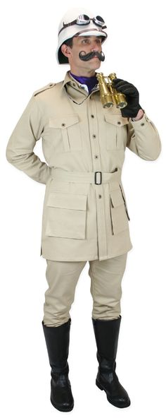 Historical Emporium Men's Cotton Canvas Safari Bush Jacket L Khaki Steampunk Emporium, Steampunk Men, Steampunk Costume, Steampunk Fashion, Steampunk Wedding, Hunter Costume, Pith Helmet, Historical Emporium, Hunter Outfit