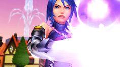 Aqua summoning her Keyblade.