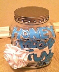 Honeymoon fund jar for gift table - HoneyMoon Archives 2019 Honeymoon Fund, Gift Table, Diy Wedding, Mason Jars, Decorative Boxes, Gifts, Favors, Mason Jar, Presents