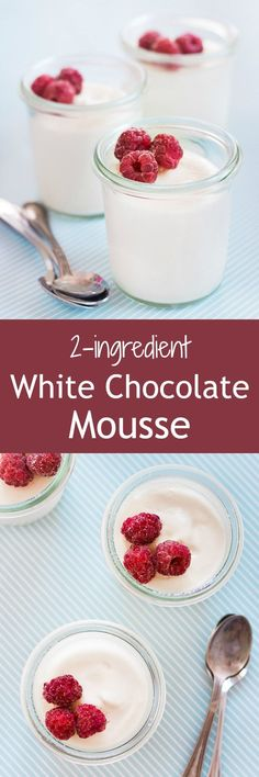Creamy and light white chocolate mousse made easy with only 2 ingredients! White Chocolate Mousse, Chocolate Mousse Recipe, Chocolate Pudding, Chocolate Desserts, French Chocolate, Chocolate Chocolate, Mini Desserts, Easy Desserts, Delicious Desserts