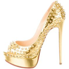 Pre-owned Christian Louboutin Lady Peep Spiked Pumps ($825) ❤ liked on Polyvore featuring shoes, pumps, gold, peeptoe pumps, patent pumps, patent leather pumps, metallic gold pumps and spiked pumps