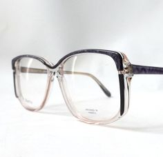 f0ff028cde37 Items similar to vintage 80s 90s cazal style eyeglasses purple black clear  plastic frames eyewear retro eye glasses modern oversize square corner  browline ...