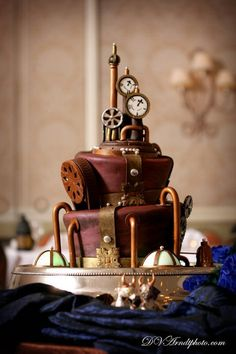 I've never seen a steampunk wedding cake before!