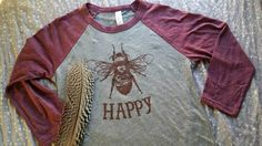 Bee Happy Raglan/ Bee Happy Baseball T-shirt/ Burgandy Raglan/ Adult T-shirt/ Unisex T-shirt/ Bee Keeping/ Holiday Gift/ Gardener/ jersey