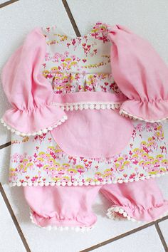 18 Pink Floral and Linen Waldorf Doll Dress and by WildGingerKids, $32.00