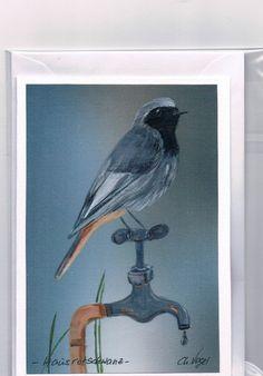 Grüße - Grußkarte - Hausrotschwanz, handgemalt - ein Designerstück von Vogelmalerin bei DaWanda
