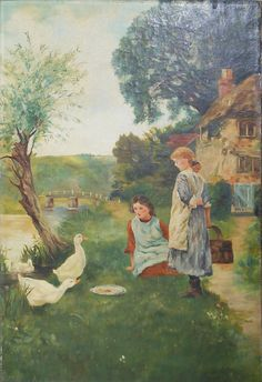 19 th century vintage oil painting two girls feeding geese  on