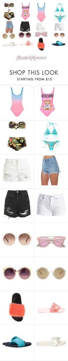 """""""swimming party"""" by darkskin-cori ❤ liked on Polyvore featuring Solid & Striped, Moschino, Isolda, Beach Bunny, R13, Wrangler, Topshop, Barbour International, Chloé and Erdem"""
