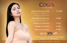 We have a special treat for you this holiday season! Now is the perfect time to up your beauty game before Christmas! Be your gorgeous best with the help of our whitening and anti-aging treatments at a very affordable price, only from Cogal Skin Care Center.  Installment scheme available on all whitening & anti-aging treatment packages.  For queries and bookings, you may reach us on the ff. nos.:  Telephone No. 032-318-3998 Mobile Nos. 0905-412-8693/0917-636-2859  0939-871-4607