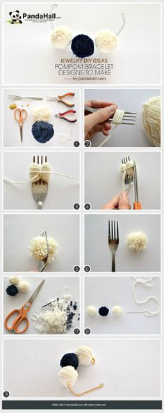 The pompom bracelet designs to make are great jewelry DIY ideas that can be finished off within about 5 minutes. Just utilize colorful yarns you will make these fluffy knick knacks.
