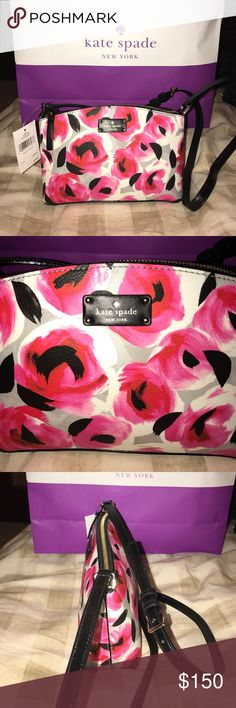 Kate Spade Millie Grove Street Printed Crossbody Kate Spade Millie Grove Street Printed Crossbody. Rose bedprint. NEW WITH tags!  Adjustable strap, zippered top, inside has slip pocket. Pink, black, white and gray kate spade Bags Crossbody Bags
