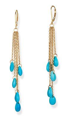 Multi Strand Turquoise 14k Gold Long Earrings