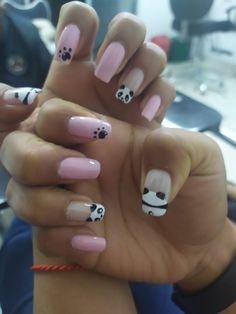 Panda Nail Art, Color Rosa, Diys, Nail Designs, Makeup, Beauty, Panda Bear Nails, Bear Decor, Little Girl Nails
