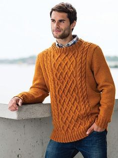 28608 Aran Pullover pattern by Olaug Kleppe A classic aran sweater is designed for men and women in sizes XS – XXXL. Choose from two neckline choices - crew or turtle neck. Mens Knit Sweater, Cable Sweater, Aran Knitting Patterns, Knitting Designs, Sweater Patterns, Pull Aran, Aran Jumper, Cozy Sweaters, Shirt Sleeves