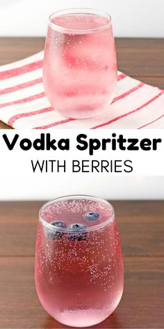 Vodka Spritzer Recipe With Berries - A bubbly and refreshing cocktail that's low in calories but full of flavor. Vodka Spritzer Recipe With Berries - A bubbly and refreshing cocktail that's low in calories but full of flavor. Cocktail Vodka, Cocktail Movie, Cocktail Shaker, Low Calorie Alcoholic Drinks, Alcholic Drinks, Low Calorie Mixed Drinks, Healthy Drinks, Alcoholic Beverages, Healthy Food