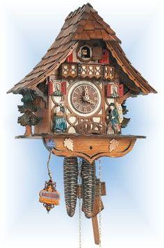 Schneider | 8t-1686-9 | 13''H | Clock Peddler | Chalet style | cuckoo clock | full view
