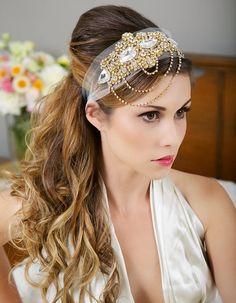 Gold Crystal Headband, Veil Head Wrap, Gold Art Deco Great Gatsby Headpiece, Gold, Crystal Wedding Veil, 1920's Style - Ready to Ship