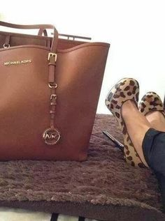 Micheal Kors Brown Handbag and Suitable High-Heeled Shoes
