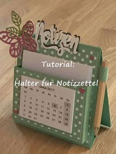 Tutorial holder for notepad / calendar with products from Stampin 'Up!