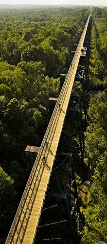 HIGH BRIDGE TRAIL STATE PARK – Virginia This is is a 31 mile long multi-use trail in Central Virginia ideally suited for hiking, bicycling and horseback riding. The trail, once a rail bed, is wide, level and generally flat and covered with finely crushed limestone. The surface and dimensions make it easy for all ages and abilities to enjoy it. Its centerpiece is the majestic High Bridge, which is 2,422 feet long and 125 feet above the Appomattox River.