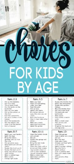 By Age - PERFECT list of Age Appropriate Chores for kids developed by a child therapist & teacher. The -Chores By Age - PERFECT list of Age Appropriate Chores for kids developed by a child therapist & teacher. Chores For Kids By Age, Age Appropriate Chores For Kids, Kid Chores, Children Chores, Toddler Chores, Life Skills For Children, School Children, Gentle Parenting, Parenting Advice