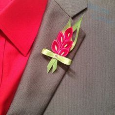 Red Calla Lily's Boutonniere by DidiArtCorner on Etsy