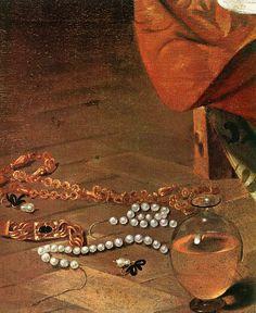 Details of jewels Caravaggio Mary Magdalene, Detail: Pearls Oil on canvas Galleria Doria Pamphilj Rome Italian Painters, Italian Artist, Michelangelo Caravaggio, Maria Magdalena, Renaissance Kunst, Tableaux Vivants, Marie Madeleine, Baroque Painting, Classical Art