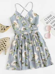 Shop Floral Print Wrap Cami Dress at ROMWE, discover more fashion styles online. Cute Dress Outfits, Cute Summer Outfits, Pretty Outfits, Pretty Dresses, Cool Outfits, Summer Dresses, Teen Fashion Outfits, Outfits For Teens, Fashion Dresses