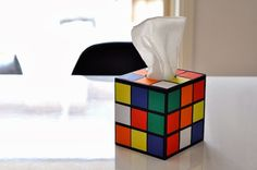 How-To: DIY Rubik's Cube Tissue Box Cover (I wonder if this would work with Modpoge instead of double stick tape?)