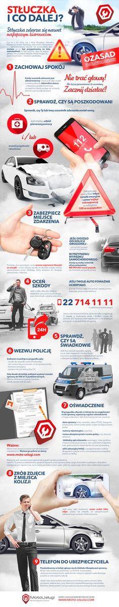 Stłuczka i co dalej? Infografika First Aid, Fun Facts, Life Hacks, Infographic, Survival, Good Things, Humor, Education, Tips