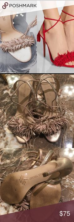 """Ivanka Trump Hettie sandals - wild thing look! Ivanka Trump Women's Hettie Dress Sandal, Rose Gold Suede, 8M. Fab shoes! Great condition. Similar to the Aquazurra wild thing sandal!! This listing is only for rose gold shoes.   Dense fringe dances along the toe strap of a sultry leather sandal lifted by a slender heel, while fringe tassels dangle from thin wraparound ankle straps that flatter and lengthen the leg. 4 1/4"""" heel (approx) 3 1/2"""" ankle strap height. Ivanka Trump Shoes Sandals"""