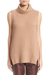 Vince Sleeveless Ribbed Wool Turtleneck in Almond and Off white Item #1151222