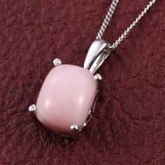Detailed and fashionable, this pendant with 20-inch chain features Peruvian pink opal gemstones. In a setting of sterling silver nickel free with platinum overlay, this is an exceptional choice to enhance your wardrobe. Check out matching ring.  Free Shipping ​Gift Box