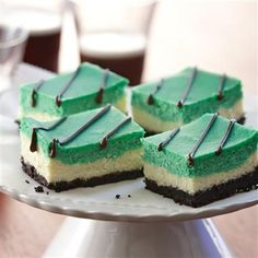 Green with Envy Cheesecake Bars for St. Patrick's Day