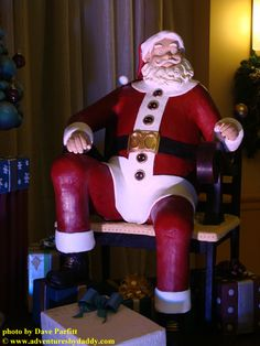 2,956,818 calories in this 1,200-pound, life-size chocolate sculpture of Santa at Walt Disney World Swan and Dolphin Hotel in Orlando.