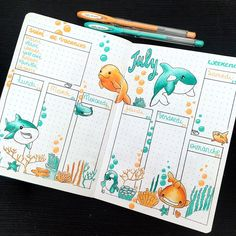 for the week of July 23 to 29 ☀️ I loved this combo of colors 😀 I . - for the week of July ☀️ I loved this color combo dessins Drawing inspiration - Bullet Journal School, Bullet Journal Headers, Bullet Journal Month, Bullet Journal Banner, Bullet Journal Notebook, Bullet Journal Spread, Bullet Journal Inspiration, Bullet Journal Aesthetic, Diy Ideas