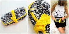 crochet clutch black/creme cotton wool, yellow cotton yarn