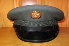 f0ba83b5b7a US Army Officer 1967 Military Green Service Dress Hat Vintage 60s Vietnam  Era United States Crusher