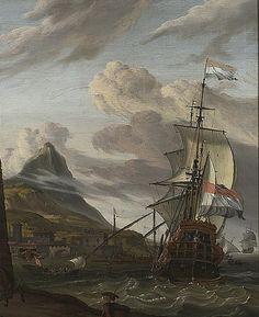 13 Storck Abraham Dutch Ship Entering a Mediterranean Port