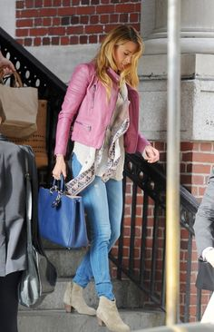 Pink leather jacket, ankle boots, scarf: Blake Lively style