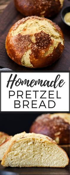 The BEST Homemade Pretzel Bread recipe ever. Seriously, once you make this you will never be able to eat store-bought pretzel bread again! It's dense, soft, chewy, buttery, salty and oh-so-delicious. We've included a video with step-by-step instructions! #pretzelbread #homemade #recipe #bread #recipevideo