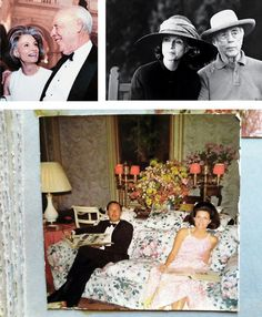 Deeda Blair, Clockwise from top left: with Bill in Venice, 1999; with James Watson in 2003; relaxing at Chatsworth with Rory Cameron in 1967.