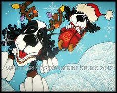 santa Christmas  whimsical dog art holiday sled by tangerinestudio, $110.00