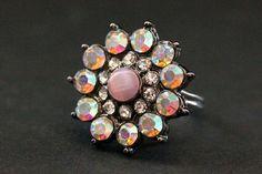 Vintage Button Ring. Pink Rhinestone Ring. by StumblingOnSainthood, $34.00